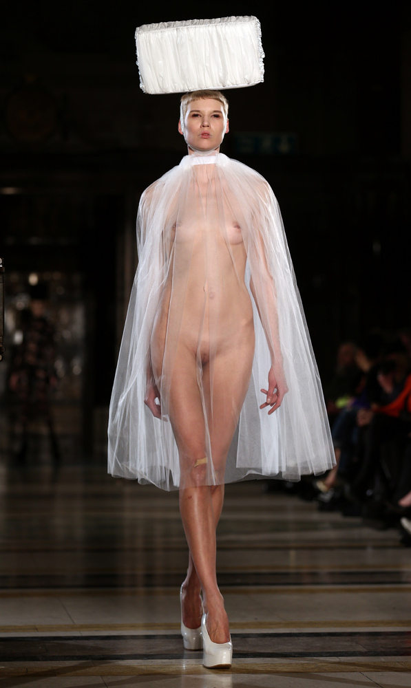 nude models on runway